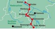 Hotel Deutschland,   Niedersachsen,   Der Weser-Radweg ( Sterne) in Weser-Radweg  in Deutschland Nord in Eigenanreise