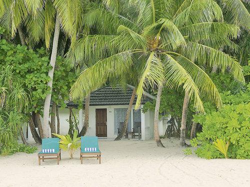 Beliebtes Inselresort (ca. 700 x 140 m) am südlichen Außenriff des Ari-Atolls. Die türkisblaue Lagune mit einem breiten, feinsandigen Strand ...